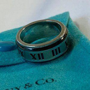 Tiffany Silver Black Titanium Atlas Ring 5.75